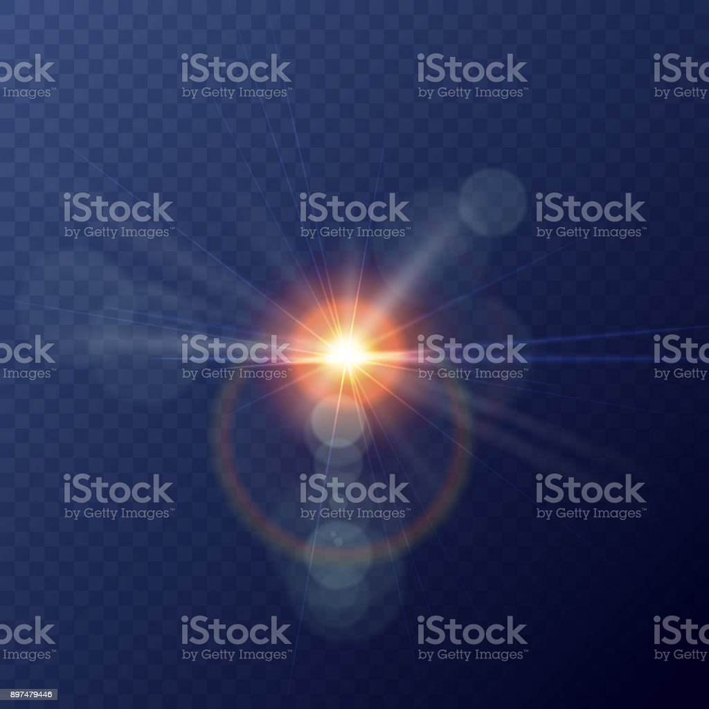 Vector yellow sun with rays and glow on transparent like background. Vector illustration