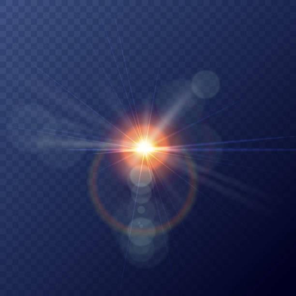 illustrazioni stock, clip art, cartoni animati e icone di tendenza di vector yellow sun with rays and glow on transparent like background. vector illustration - aureola