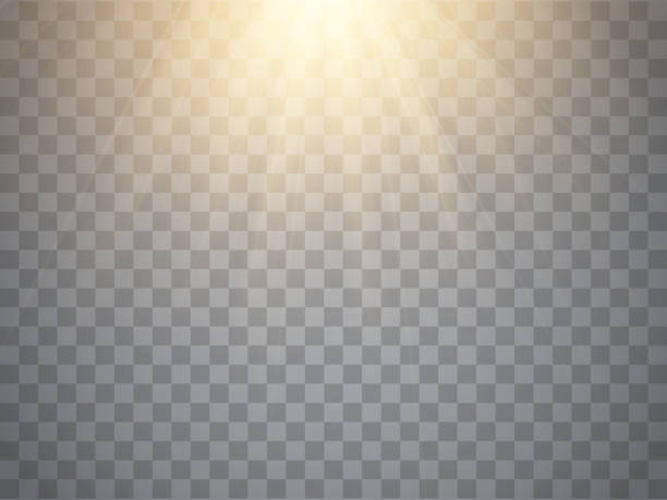 Vector yellow sunlight. Sun beams or rays on transparent background Vector sunlight effect. Sun beams or rays isolated on transparent background light effect stock illustrations