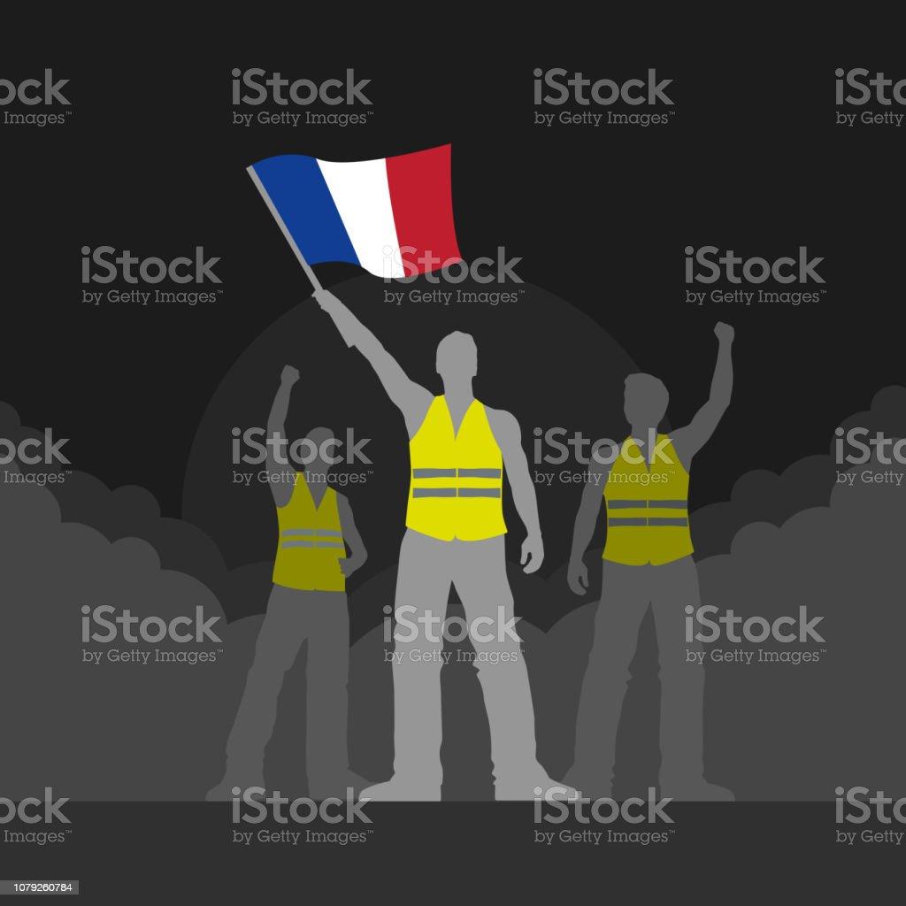 Vector yellow vest protestors illustration vector art illustration