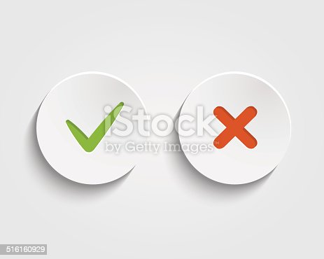 istock Vector Yes, No checkmark on buttons or circles 516160929