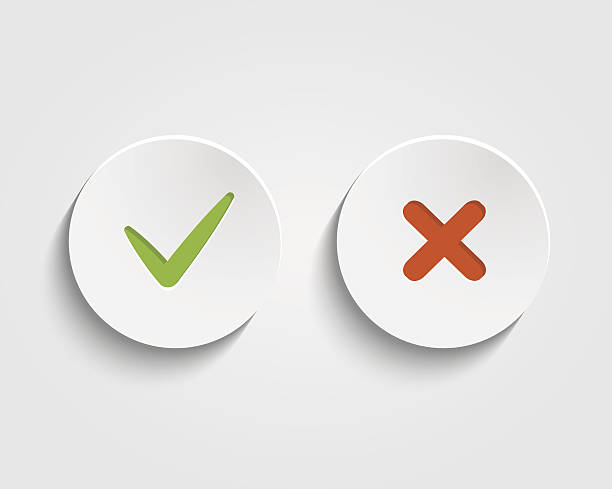 stockillustraties, clipart, cartoons en iconen met vector yes, no checkmark on buttons or circles - mislukking
