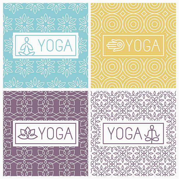 vector yoga icons and line badges - yoga stock illustrations, clip art, cartoons, & icons