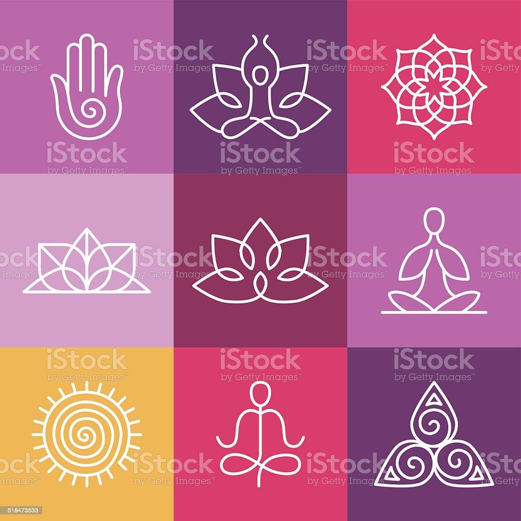 Vektor Yoga Symbole Und Zeichen über Linie Stock Vektor Art Und Mehr