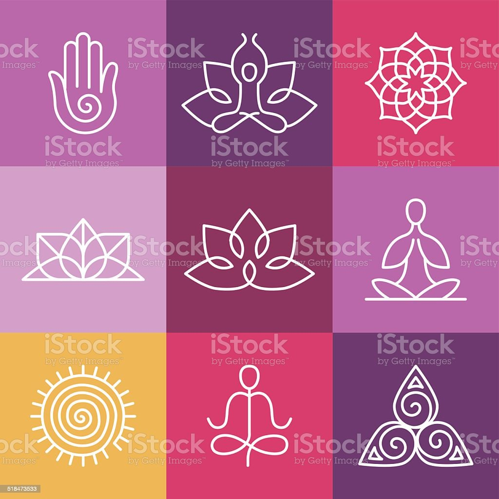 Vector yoga icons and round line signs vector art illustration