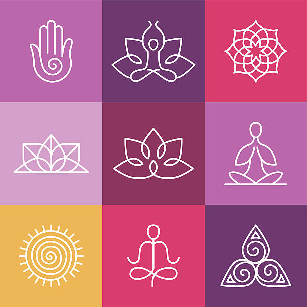 vector yoga icons and round line signs - yoga stock illustrations, clip art, cartoons, & icons