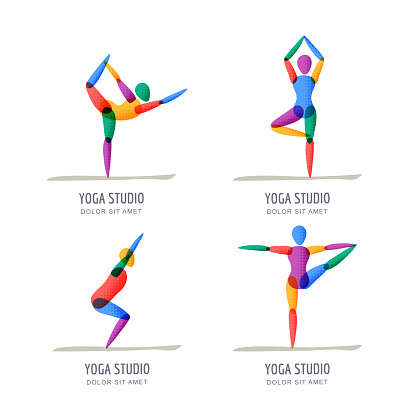 vector yoga studio emblem design template colorful female