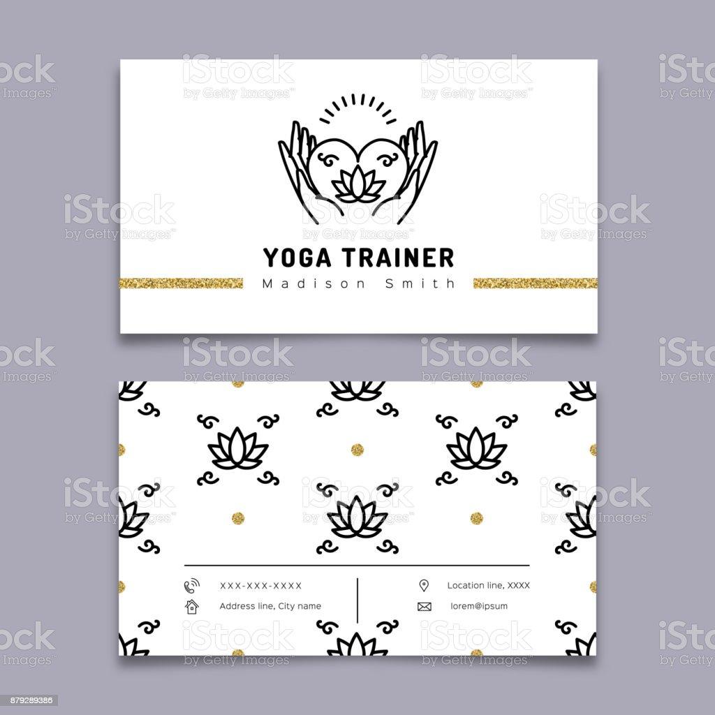 Vektoryoga Trainer Visitenkarte Vorlage Meditationsymbol