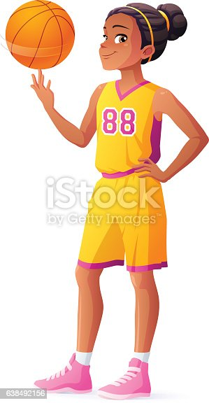 Vector young African basketball player girl spinning ball on finger.