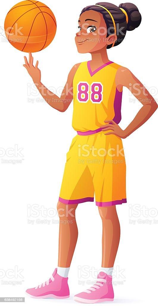 Vector young African basketball player girl spinning ball on finger. vector art illustration