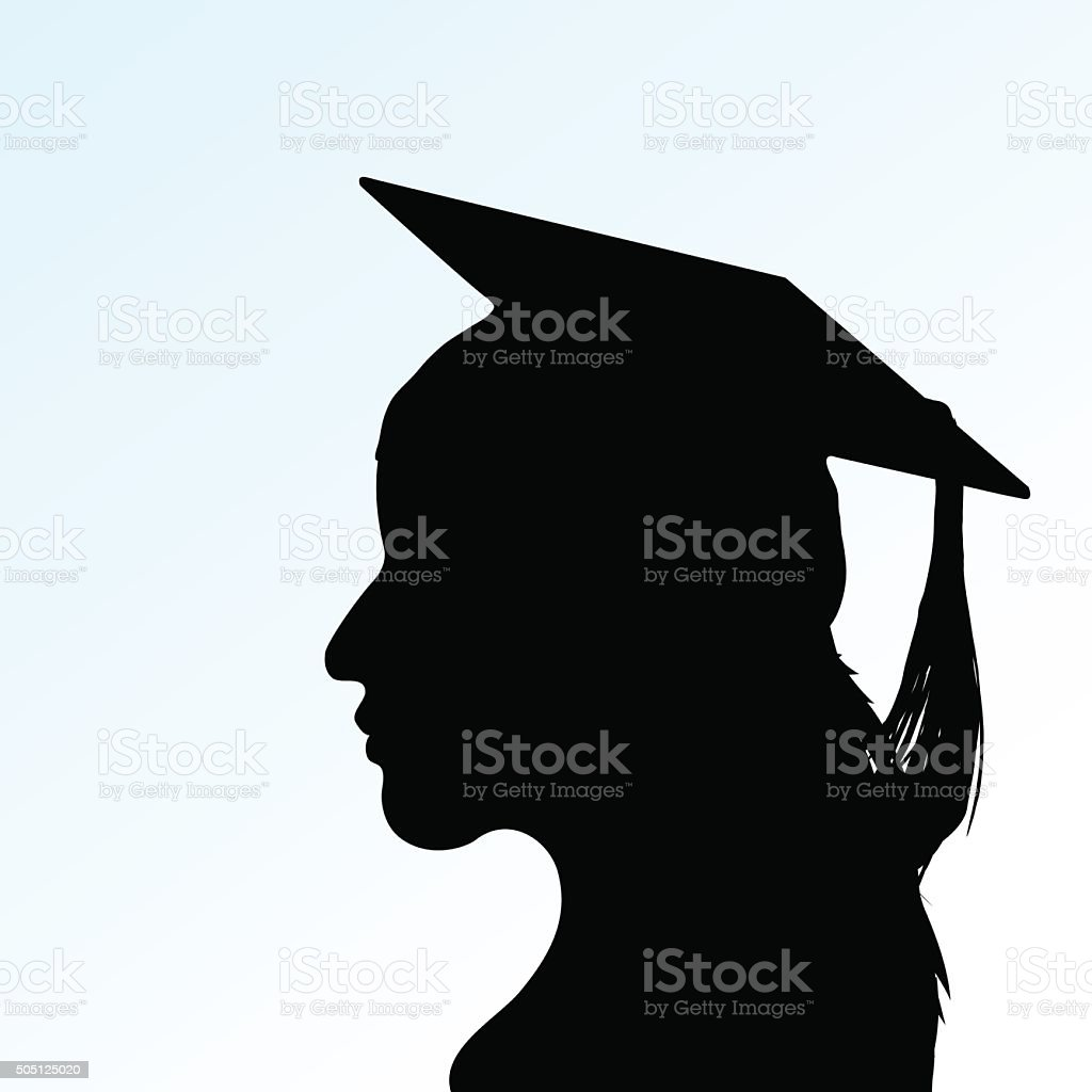 Vector young girl with Mortar Board vector art illustration