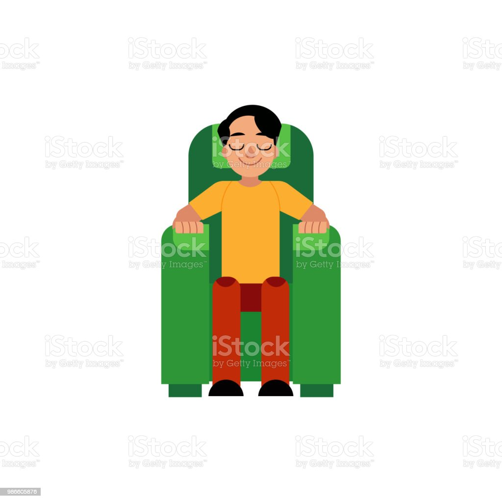 Vector young man sitting at armchair resting vector art illustration