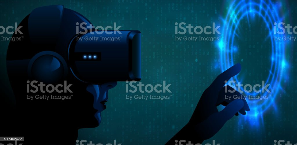Vector young man wearing virtual reality headset 3d glasses and touch blue glow portal or futuristic interface. Cyber silhouette character dark techno vr banner. Turquoise binary code background vector art illustration