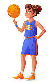 Cute young pretty young basketball player girl in blue uniform spinning the ball on her finger. Cartoon vector illustration isolated on white background.
