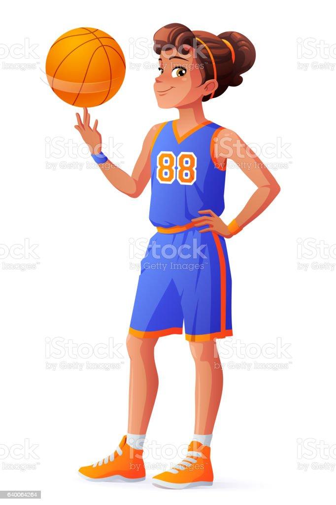 Vector young pretty basketball player girl spinning ball on finger. vector art illustration