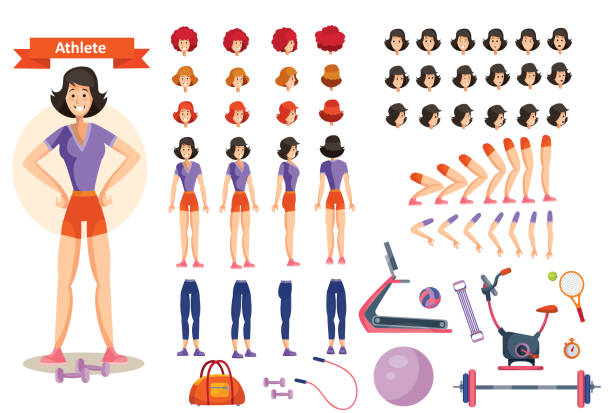 Vector young woman athlete. Character creation set vector art illustration