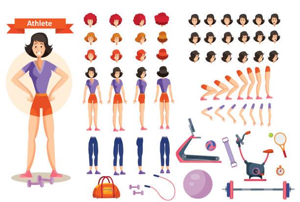 ilustrações, clipart, desenhos animados e ícones de atleta jovem de vetor. conjunto de criação de personagem - personal trainer