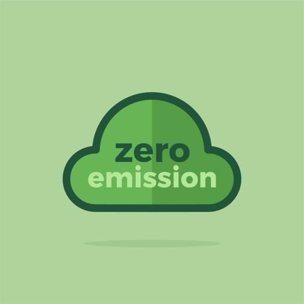Vector Zero Emission with Cloud vector art illustration