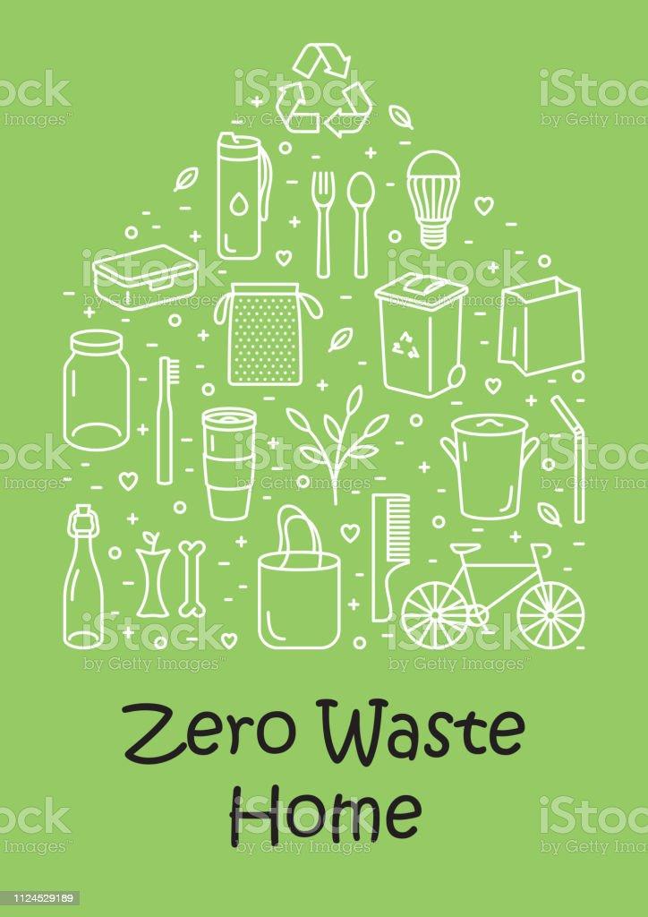 Vector Zero Waste Home Icon Banner Stock Illustration