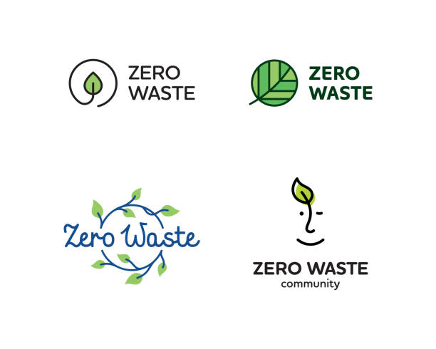Vector Zero Waste Logo Design Set Vector Zero Waste logo template set. Linear eco icon labels with leaves. Color emblem illustrations of  Refuse Reduce Reuse Recycle Rot. No Plastic and Go Green symbol concept with circle and plant green leaf stock illustrations