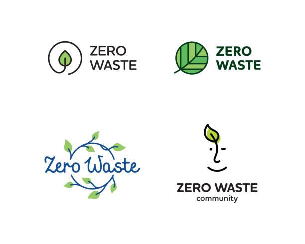ilustrações de stock, clip art, desenhos animados e ícones de vector zero waste logo design set - sustainability