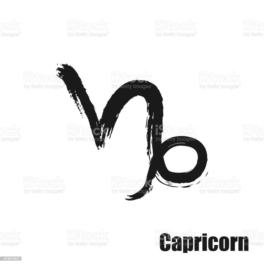 Vector Zodiac Sign With Text Hand Drawn Calligraphic Horoscope Icon