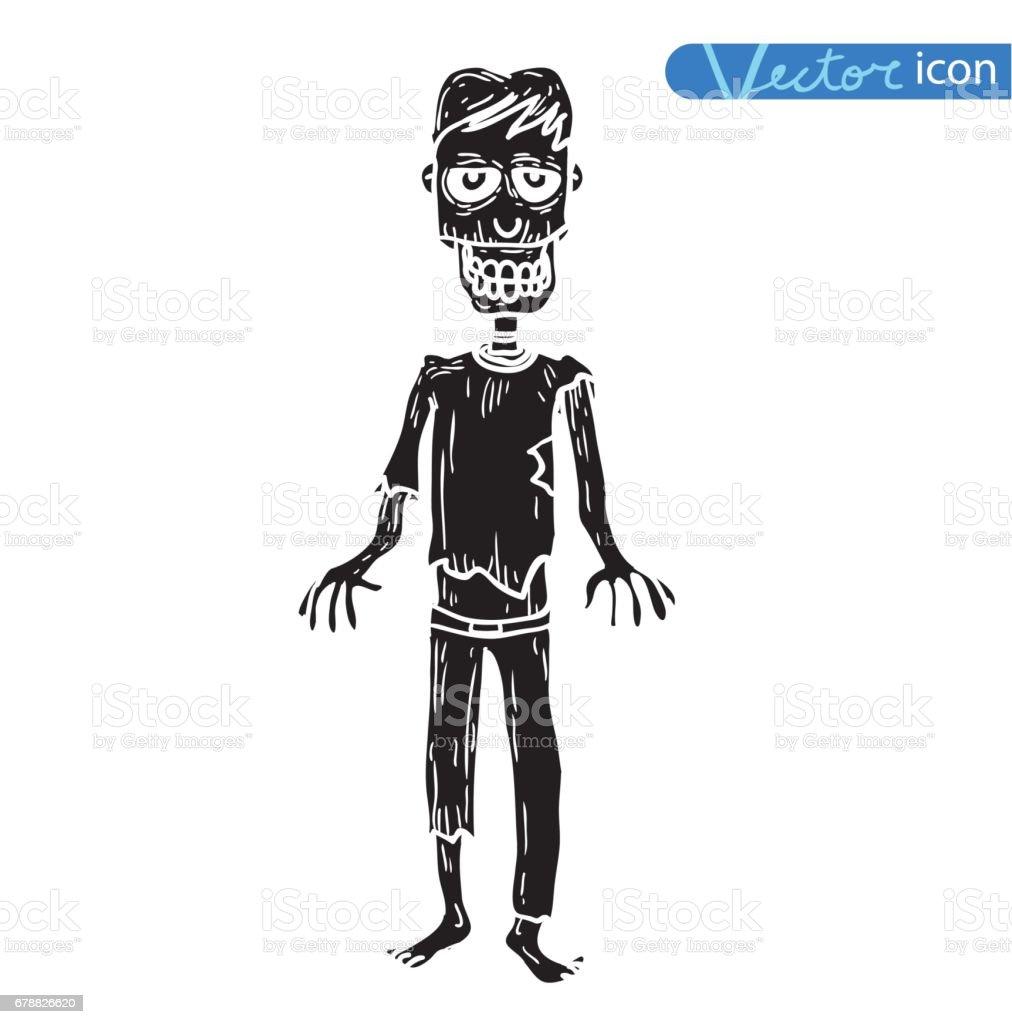 Vector - zombie cartoon character, vector illustration. vector zombie cartoon character vector illustration – cliparts vectoriels et plus d'images de aliment levé libre de droits