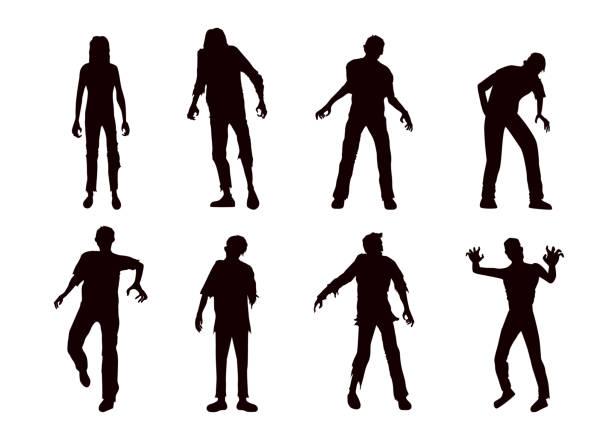 bildbanksillustrationer, clip art samt tecknat material och ikoner med vector zombie samling i silhuett stil. - zombie