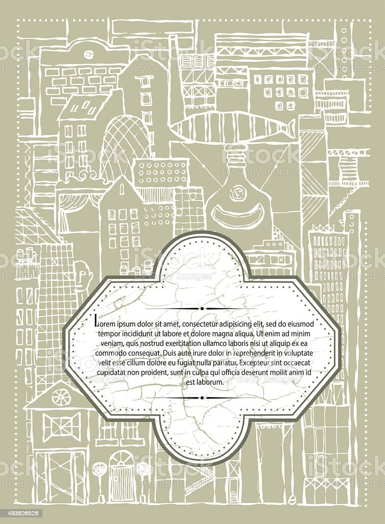 vector_background_fantasy_city_of_ imagination_beige_menu vector art illustration