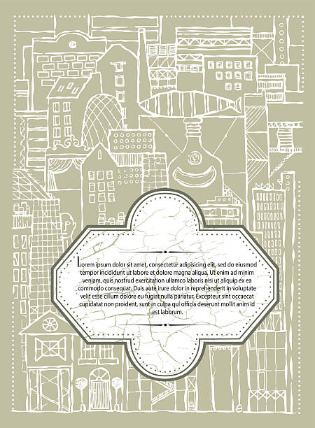vector_background_fantasy_city_of_ imagination_beige_menu Vector background fantasy city of  imagination. Hand drawn image for restaurant, cafe menu or cover for book art deco district miami stock illustrations