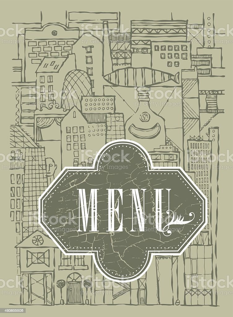 vector_background_fantasy_city_of_ imagination_menu vector art illustration