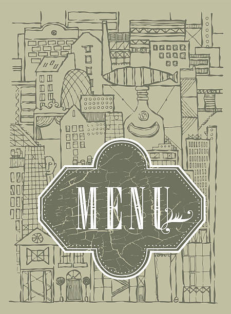 vector_background_fantasy_city_of_ imagination_menu Vector background fantasy city of  imagination. Hand drawn image for restaurant, cafe menu or cover for book art deco district miami stock illustrations