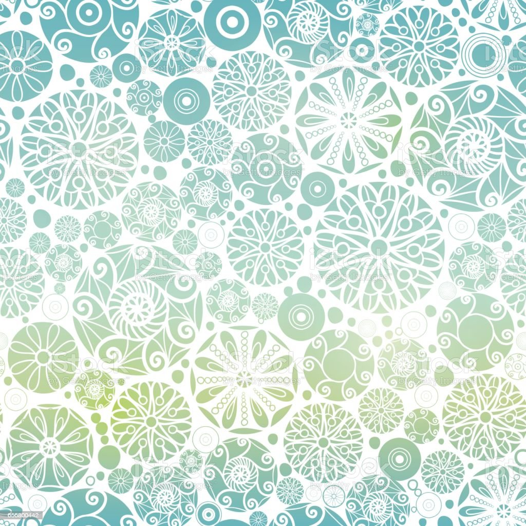 VectorBlue Green Gradient Abstract Doodle Circles Seamless Pattern Background Great For Elegant Gold Texture Fabric