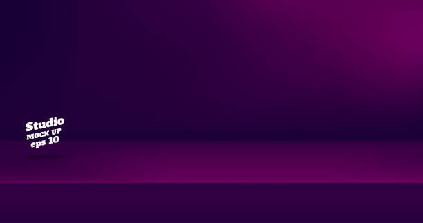 Vector, leere Farbe lila und rosa Studio-Tischraum Hintergrund, Produkt-Display mit Kopierplatz für die Anzeige von Inhalten. Banner für die Werbung auf der Website. – Vektorgrafik