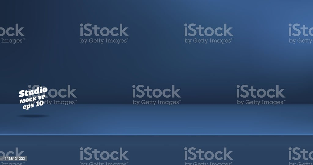 Vector,Empty dull navy blue color studio table room background ,product display with copy space for display of content design.Banner for advertise product on website. - Grafika wektorowa royalty-free (Banner internetowy)