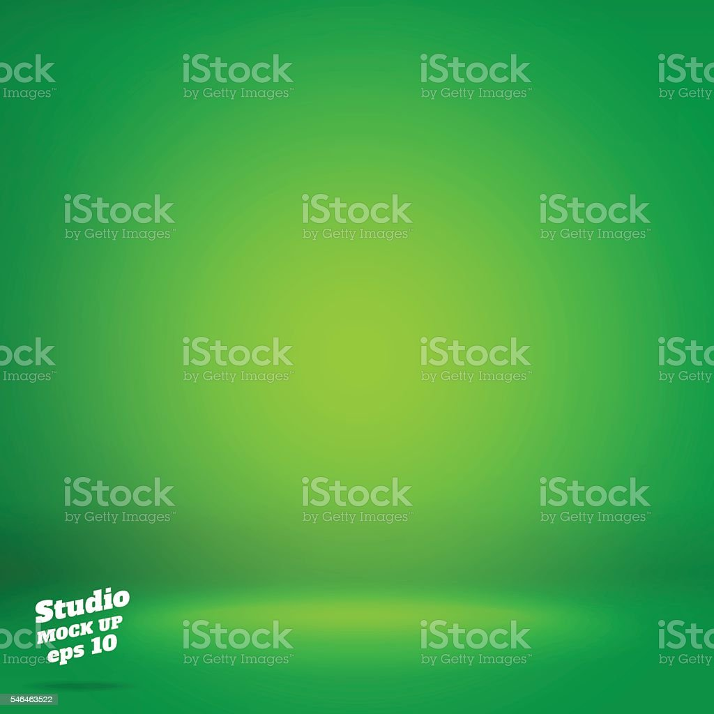 Vector,Empty vivid lighting green studio room background ,Templa vector art illustration