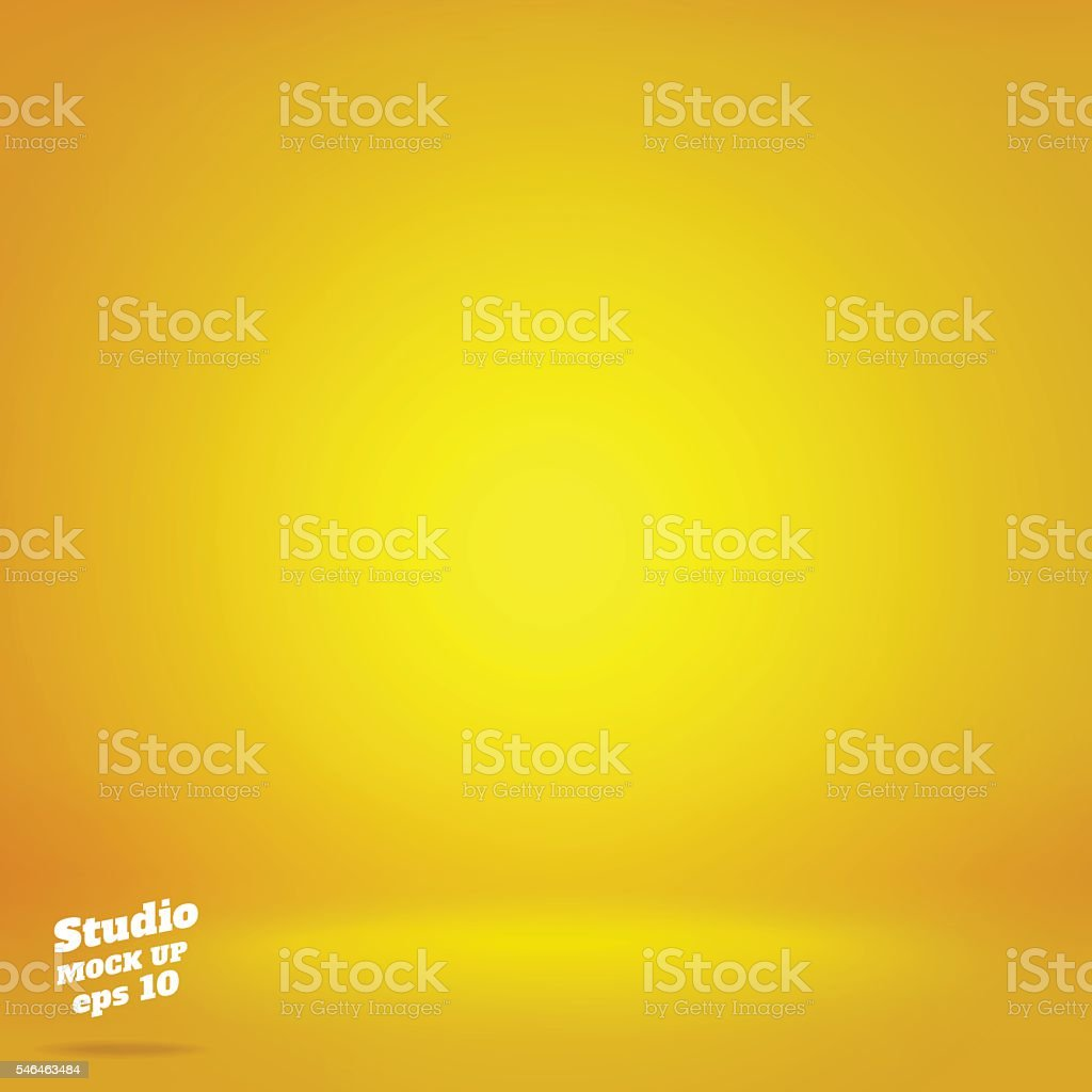 Vector,Empty vivid lighting yellow studio room background ,Templ vector art illustration