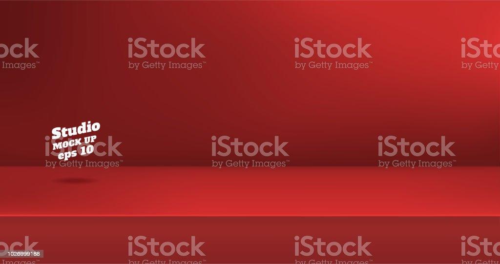 벡터, 빈 생생한 붉은 색 스튜디오 테이블 룸 배경, 콘텐츠 디자인의 디스플레이 대 한 사본 공간 제품 디스플레이입니다. 배너 광고 웹사이트에 제품. - 로열티 프리 0명 벡터 아트