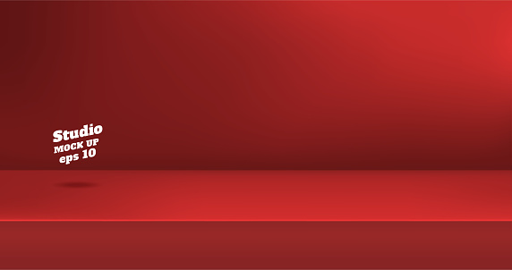 벡터 빈 생생한 붉은 색 스튜디오 테이블 룸 배경 콘텐츠 디자인의 디스플레이 대 한 사본 공간 제품 디스플레이입니다 배너 광고 웹사이트에 제품 0명에 대한 스톡 벡터 아트 및 기타 이미지