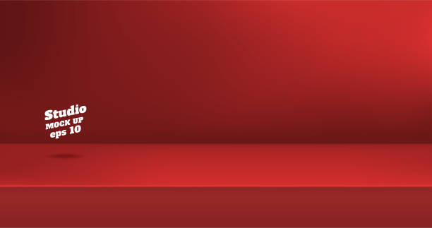 Vector,Empty vivid red color studio table room background ,product display with copy space for display of content design.Banner for advertise product on website. Vector,Empty vivid red color studio table room background ,product display with copy space for display of content design.Banner for advertise product on website studio stock illustrations