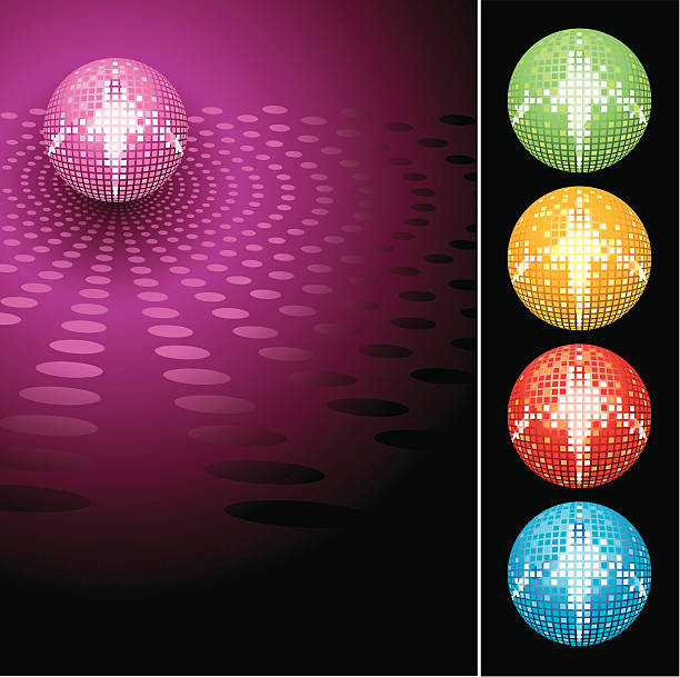 VECTOR-Glitter disco mirror ball vector art illustration