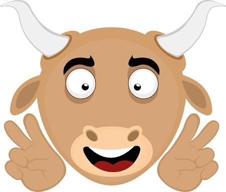 Vectori illustration of an emoticon of the head of a cartoon bull with a happy expression making a gesture with his hands of love and peace