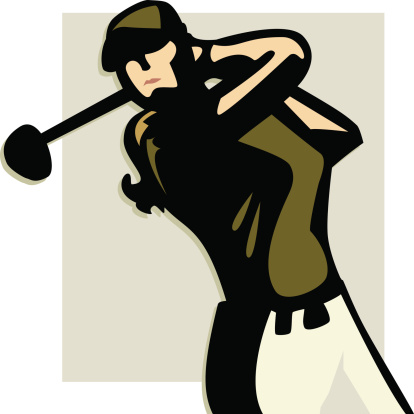 Lady Golfer isolated on colored background. XXL JPEG, AI 8 and AI CS3 included. Elements are layered and labeled.