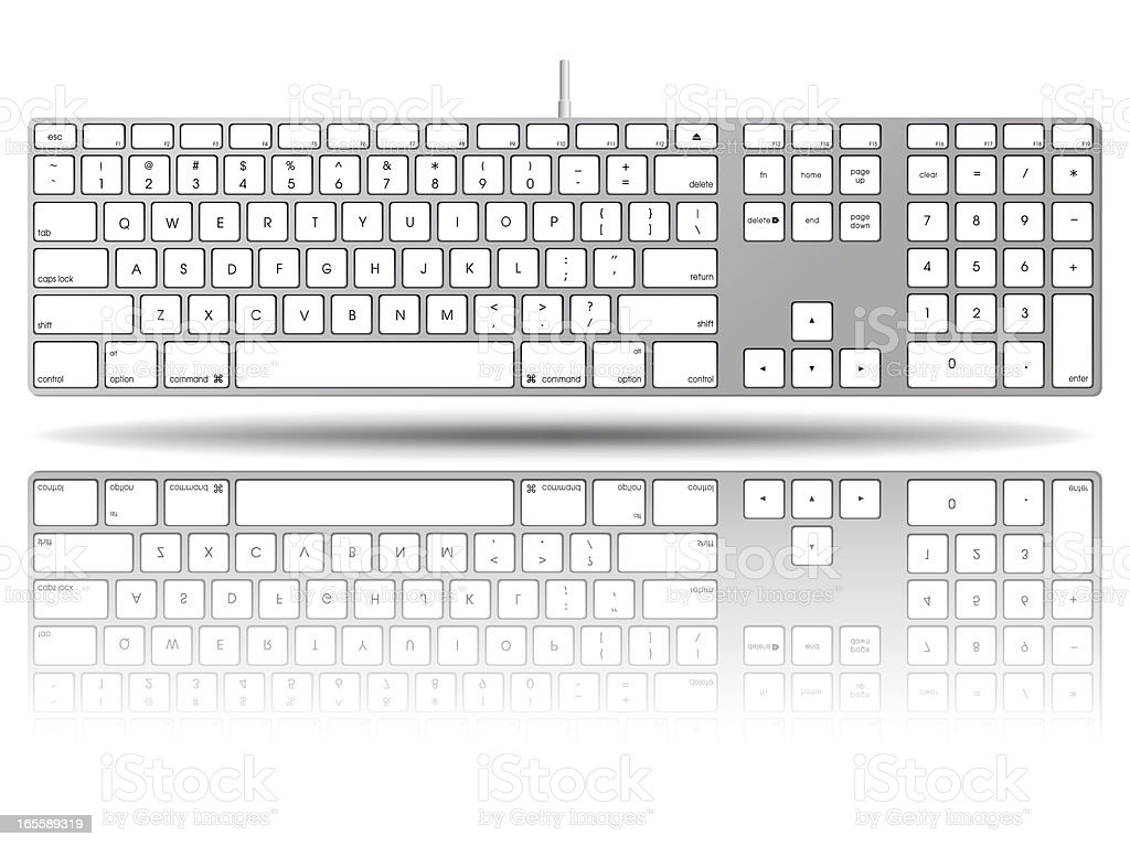 Vectorial illustration of a large computer keyboard vector art illustration