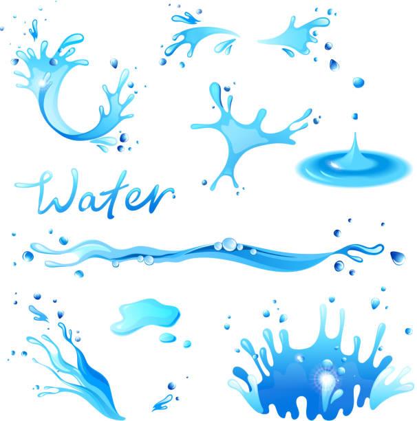 rozpryski wody - para formy wodne stock illustrations