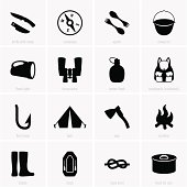 Vectorial set of camping and outdoors items in black