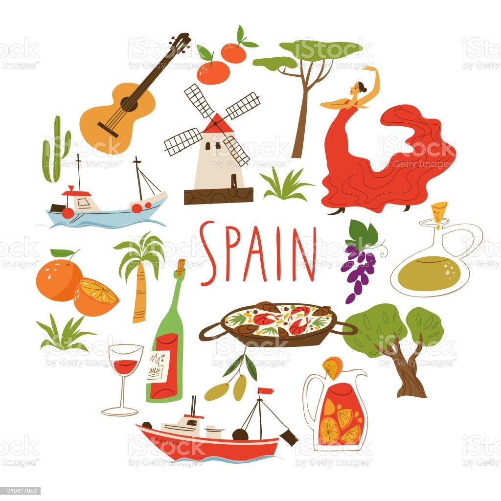 Vectorillustration com símbolos da Espanha. - ilustração de arte em vetor