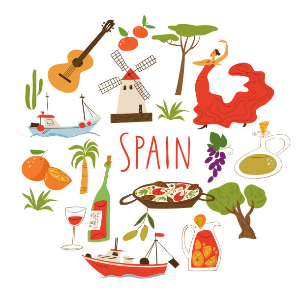 stockillustraties, clipart, cartoons en iconen met vectorillustration met symbolen van spanje. - paella