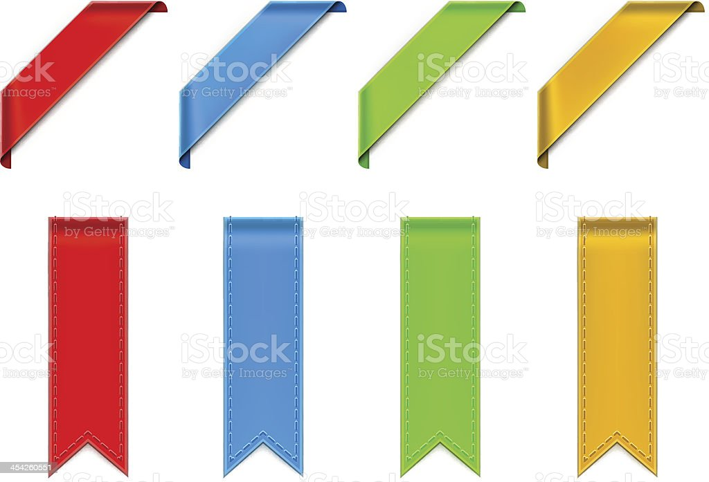 Vectorized drawing four colored ribbons vector art illustration
