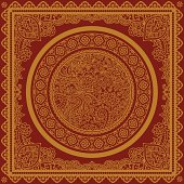 A golden mandala illustration with an ornate border design - which can be used individually. (Includes .jpg)